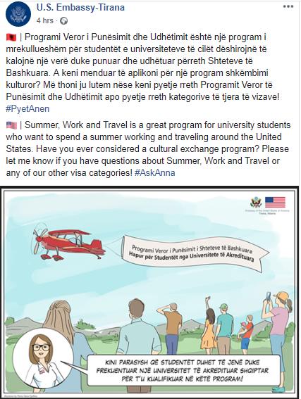 Ambasada Amerikane: Studentët shqiptarë, mundësi për të